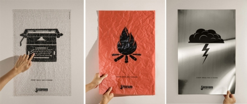"""A premiada campanha """"Toda imagem tem em som"""", criada pela DM9DDB para a Sax So Funny. Cartazes impressos em materiais que simulam o som da imagem mostrada. Sensacional!"""