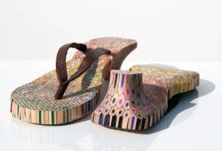 sandalia de lapis de cor